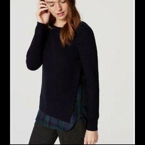 [LOFT] Mixed Media Ribbed Sweater